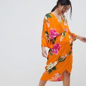 ASOS floral Satin kimono dress